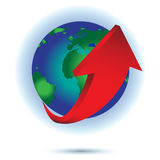 Red arrows on earth vector for design. Stock Photo