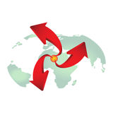 Red arrows on earth vector for design. Stock Image