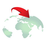 Red arrows on earth vector for design. Red arrows on earth. Earth with dynamic arrow vector for design EPS 10 Vector Illustration