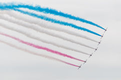 Red arrows in flight Royalty Free Stock Images