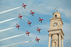Red arrows flyby Stock Images