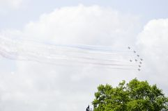 The Red Arrows flypast in UK Stock Photography