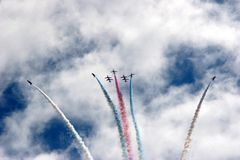 Red Arrows Formation at Eastbourne Air Show 2005 stock photos