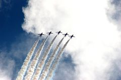 Red Arrows Formation at Eastbourne Air Show 2005 Royalty Free Stock Photos