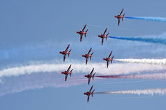 Red Arrows formation flying. Swansea air show, South Wales, UK, 9th July 2011 Stock Photos