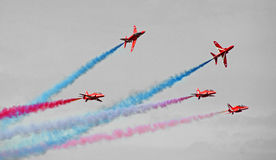 Red arrows formation flying stock photography