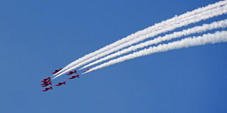 Red arrows formation flying Stock Photos