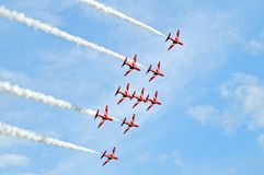 Red arrows in formation Stock Photo