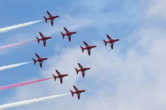 Red Arrows Formation on the turn Stock Photo