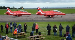 Red Arrows Hawk aircraft Stock Photo