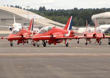 Red Arrows Hawks taxiing Royalty Free Stock Images
