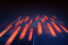 Red arrows interface. Futuristic immersive interface with red horizontal arrows flying forward over dark blue background. Concept of big data. 3d rendering royalty free illustration