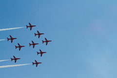 Red Arrows jet formation and blue sky Weston Air Festival Weston-s-Mare Somerset Stock Photos