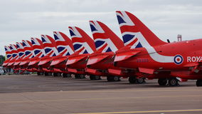 The Red Arrows Line Up. At the RIAT 2016 Stock Photo