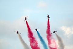 Red Arrows Manoeuvre Royalty Free Stock Images