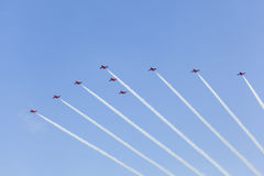 Red Arrows over Abu Dhabi, UAE Royalty Free Stock Photography