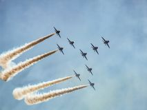 Hawk jet aircraft aerobatic team. Red Arrows over Polish sky. Hawk training aircraft in Concorde formation during making a turn during Radom Air show in Poland Stock Image