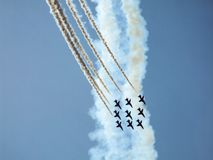 Hawk jet aircraft aerobatic team. Red Arrows over Polish sky. Hawk training aircraft in diamond formation during making a turn during Radom Air show in Poland Stock Images