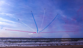 The Red Arrows. Performing in Glasgow at the Prestwick Air Show. Breathtaking display of acrobatics and raised lots of money for charity Stock Image