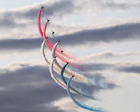 The Red Arrows. This photo shows the Red Arrows in the Kent skies Royalty Free Stock Photo