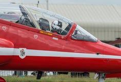 Red Arrows pilot preparing for flight Stock Photo