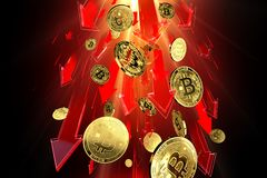 Red arrows pointing down as Bitcoin BTC price falls down with great speed. Cryptocurrency prices rapidly decline, high risk - royalty free illustration
