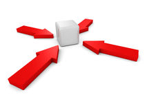 Red arrows pointing to center block cube Stock Photo