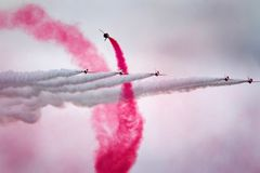 The Red Arrows RAF display team in action. Royalty Free Stock Photos