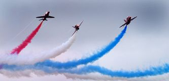 The Red Arrows RAF display team in action. Royalty Free Stock Photography