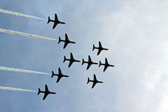 The Red Arrows RAF Airforce jet aeroplanes Royalty Free Stock Photo