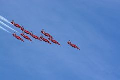 Red arrows. RAF red arrows display team Stock Photos