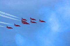 Red arrows. RAF red arrows display team 2014 Stock Images