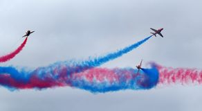 The Red Arrows RAF display team in action. Royalty Free Stock Photo