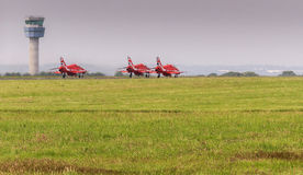 Red arrows RAF jet. Royal air force red arrow jet at John Lennon airport Liverpool England Royalty Free Stock Image