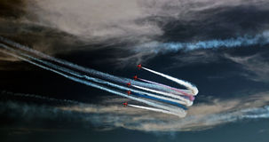 Red Arrows. The RAF's Red Arrows taken at the Eastbourne Airbourne airshow in 2013 Stock Photo