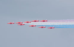 Red Arrows Royal Air Force Aerobatic Display above Tallinn Bay at 23.06.2014 Royalty Free Stock Photos