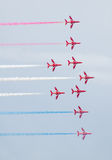 Red Arrows Royal Air Force Aerobatic Display above Tallinn Bay at 23.06.2014 Stock Photography