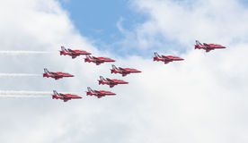 Red Arrows Royal Air Force Aerobatic Display above Tallinn Bay at 23.06.2014 Royalty Free Stock Photography