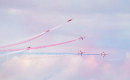 Red Arrows Royal Air Force Aerobatic Display above Tallinn Bay at 23.06.2014 Stock Photo