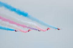 Red Arrows Royal Air Force Aerobatic Display above Tallinn Bay at 23.06.2014 Stock Photos