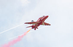 Red Arrows Royal Air Force Aerobatic Display above Tallinn Bay at 23.06.2014 Royalty Free Stock Image