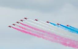 Red Arrows Royal Air Force Aerobatic Display above Tallinn Bay at 23.06.2014 Stock Image