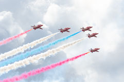 Red Arrows Royal Air Force Aerobatic Display above Tallinn Bay at 23.06.2014 Stock Photos