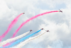 Red Arrows Royal Air Force Aerobatic Display above Tallinn Bay at 23.06.2014 Royalty Free Stock Photo