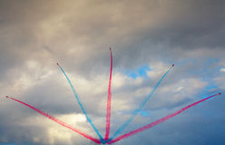 The Red Arrows, the Royal Air Force Aerobatic Team. Officially known as the Royal Air Force Aerobatic Team, is the aerobatics display team of the Royal Air Force Royalty Free Stock Photo
