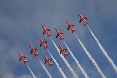 Red Arrows Royal Air Force Air Show Royalty Free Stock Photos