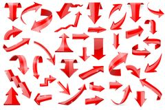 Red arrows. Set of shiny 3d icons isolated on white background. Vector illustration Royalty Free Stock Image