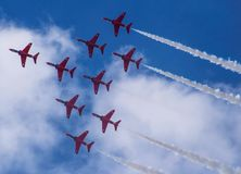 Red Arrows - Shuttle Roll royalty free stock image