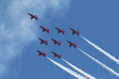 Red Arrows at Swansea Air Show. royalty free stock images
