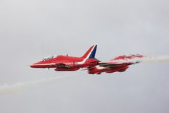 Red Arrows Synchro Pair Stock Images